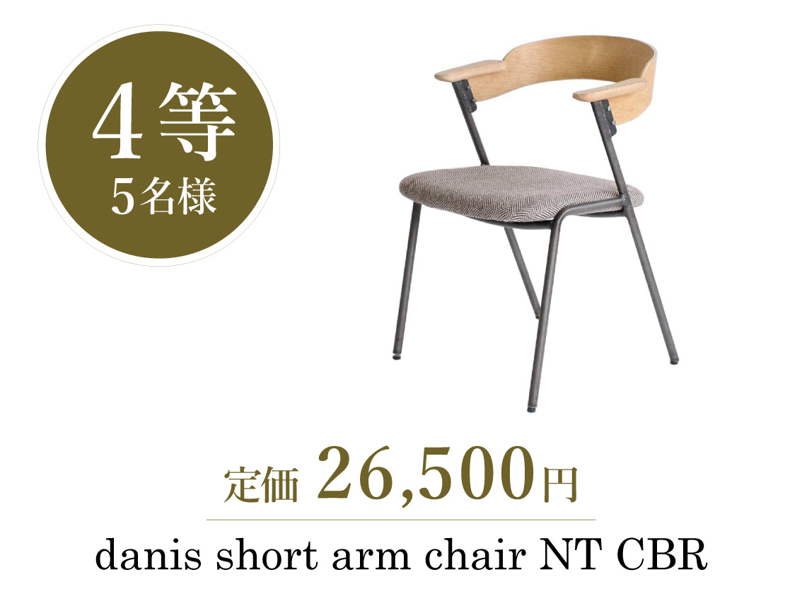 宝くじ【4等】5名様 danis short arm chair NT CBR