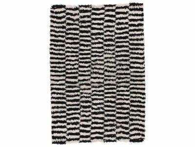 NZ ウール ラグ ブラック&ホワイト